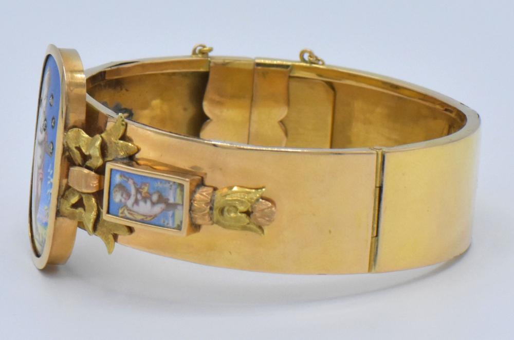 14K Yellow Gold, Diamond & Enamel Bracelet