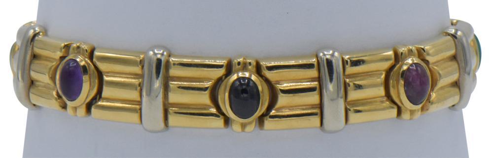 14K Yellow Gold & Gemstone Bracelet