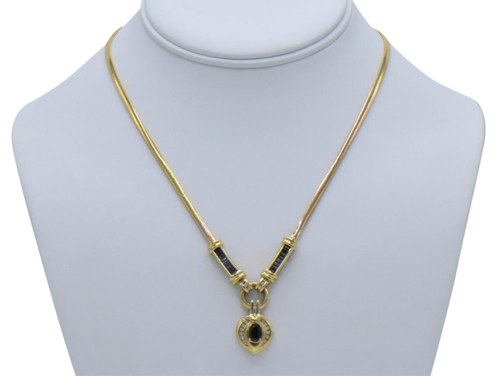 14K Yellow Gold & Sapphire Necklace
