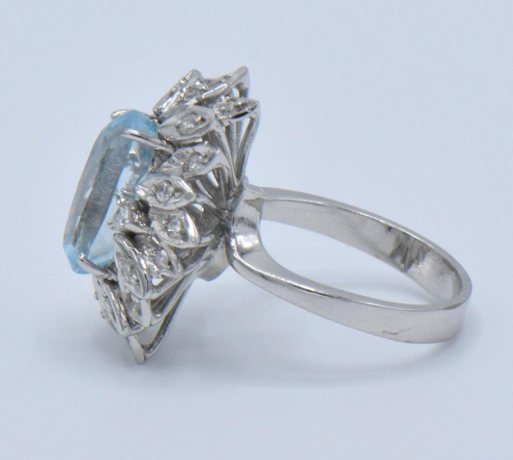 18K White Gold, Blue Topaz & Diamond Ring