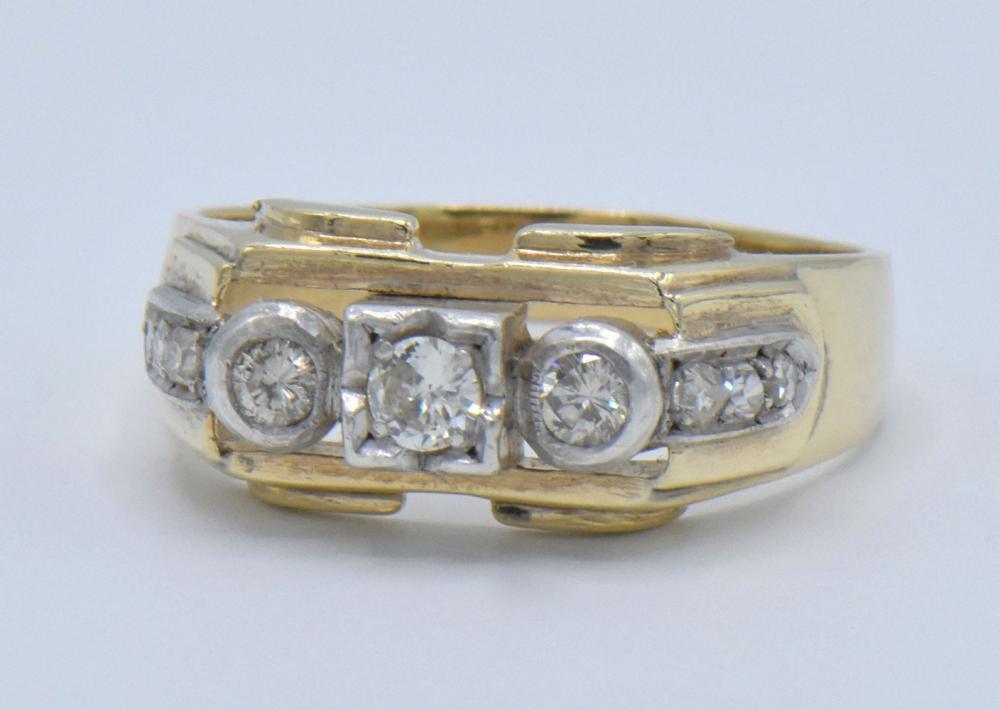 14K White Gold, Yellow Gold & Diamond Ring