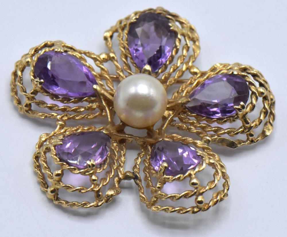 14K Gold Brooch & 18K Gold Clip on Earrings
