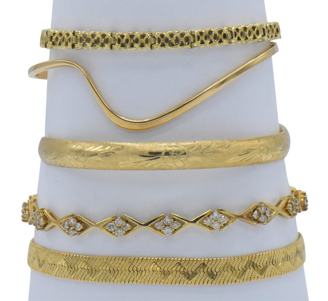 Five Yellow Gold Bracelets