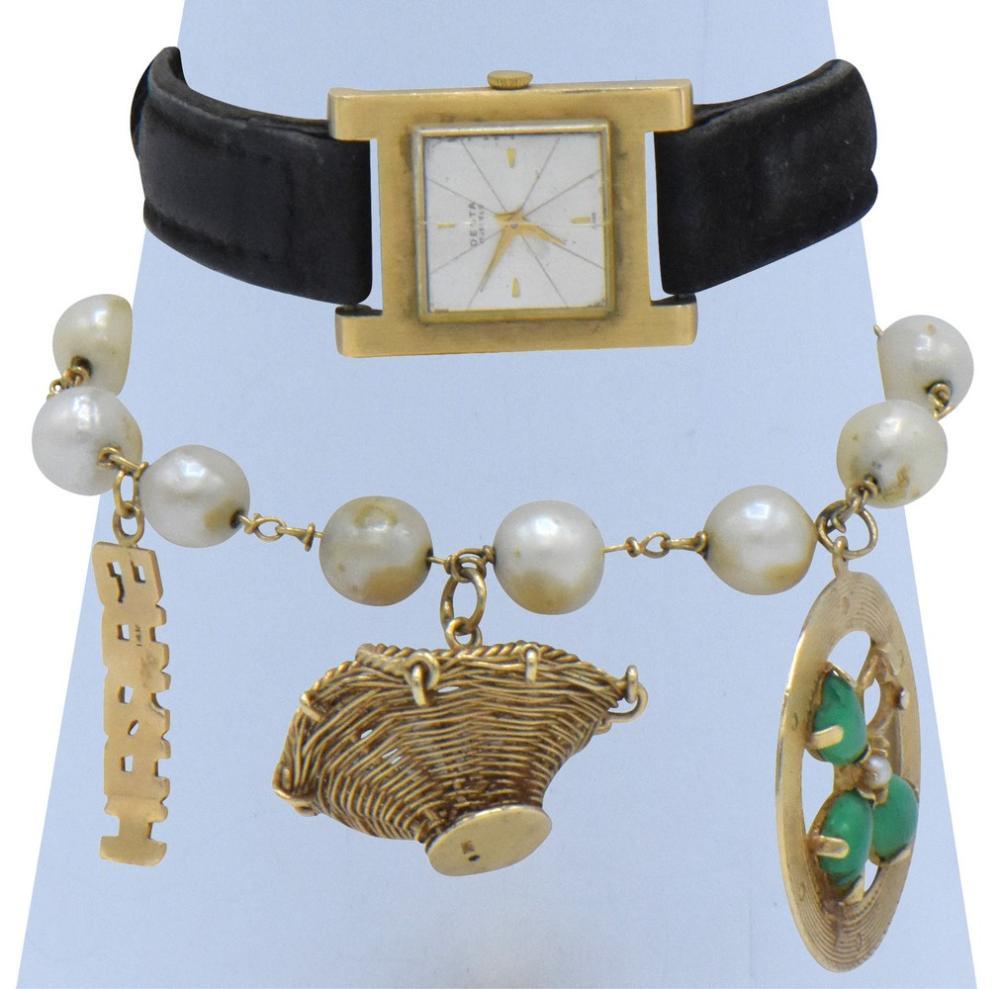 14K Yellow Gold Desta Watch & Charm Bracelet