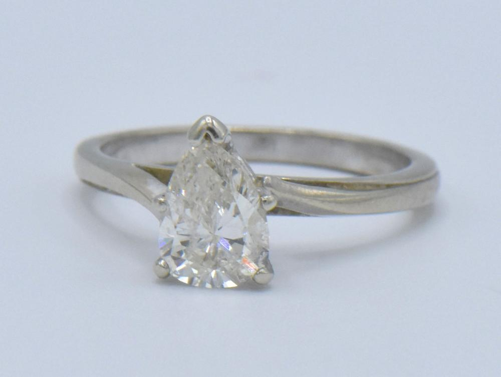14K White Gold & 1.07 ct. Pear Diamond Ring