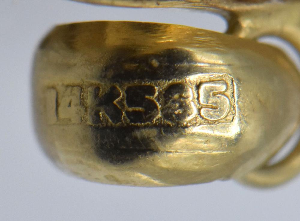 14K Yellow Gold, Bone, & Gemstone Elephant Pendant