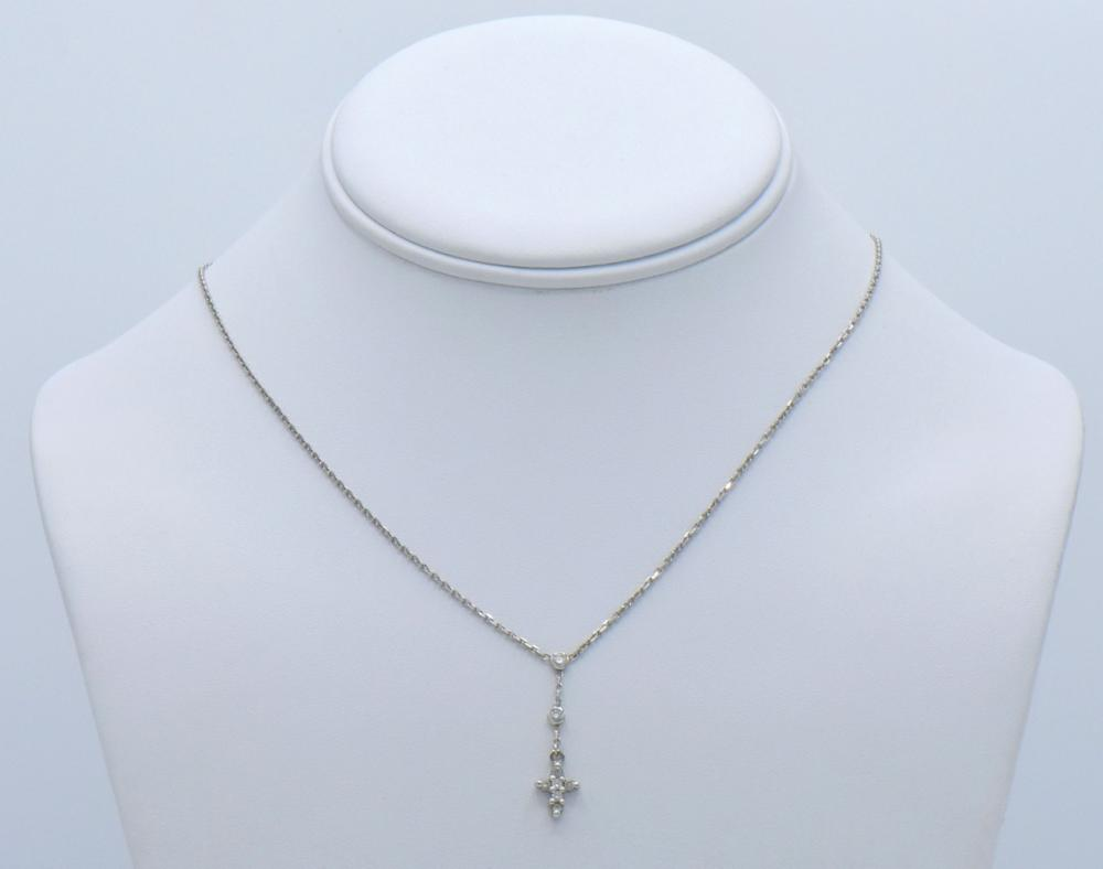 Two 14K Gold & Diamond Necklaces