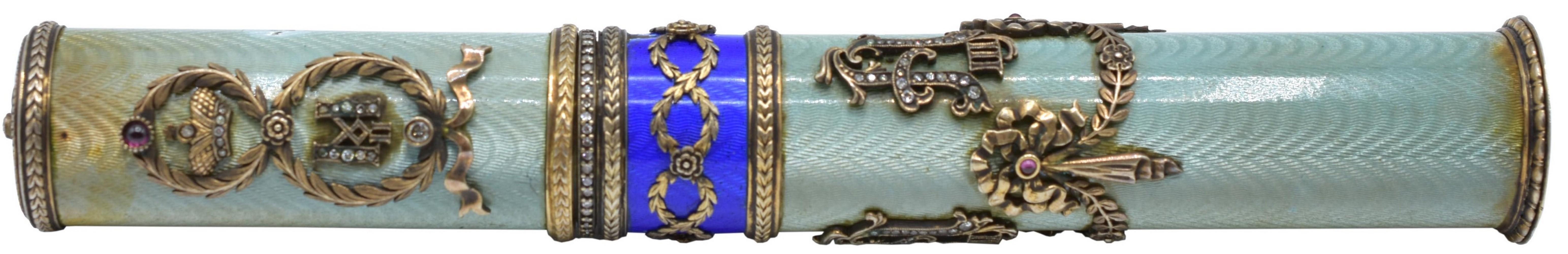 Diamond, Silver & Enamel Russian Scroll Holder