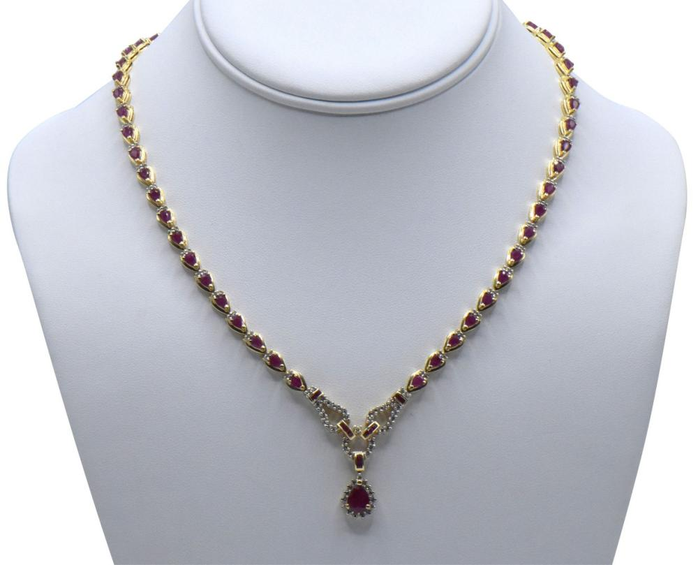 14K Yellow Gold, Diamond, & Ruby Necklace