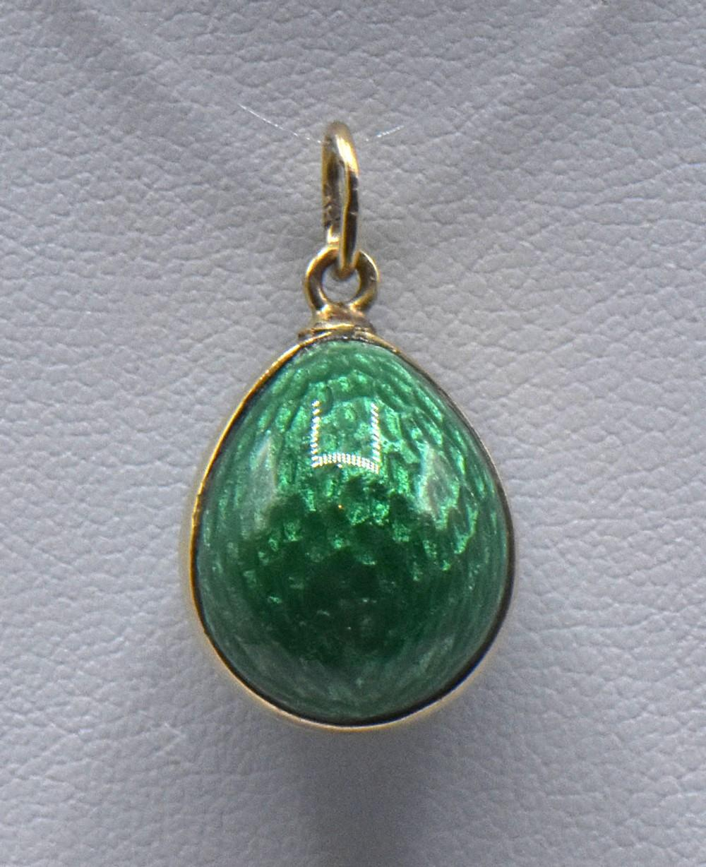 Two Russian Faberge Guilloche Gold Egg Pendants