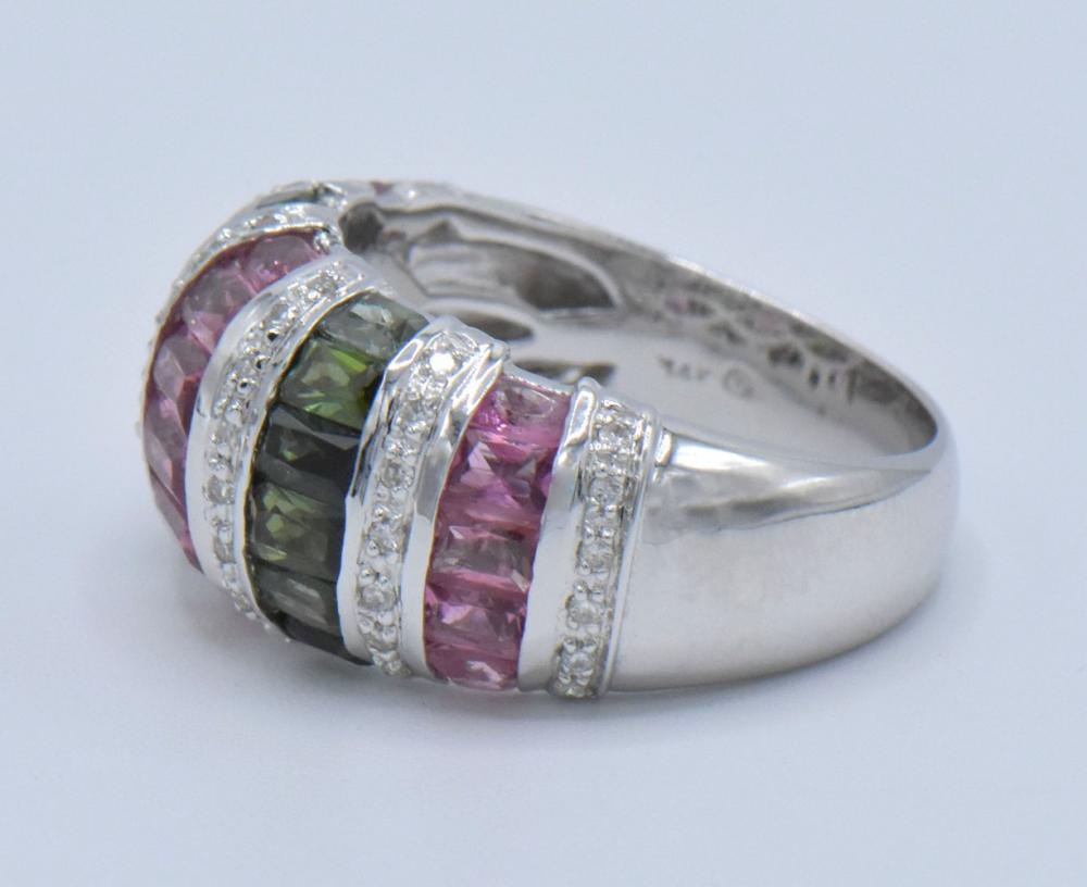 14K White Gold, Diamond, & Tourmaline Ring