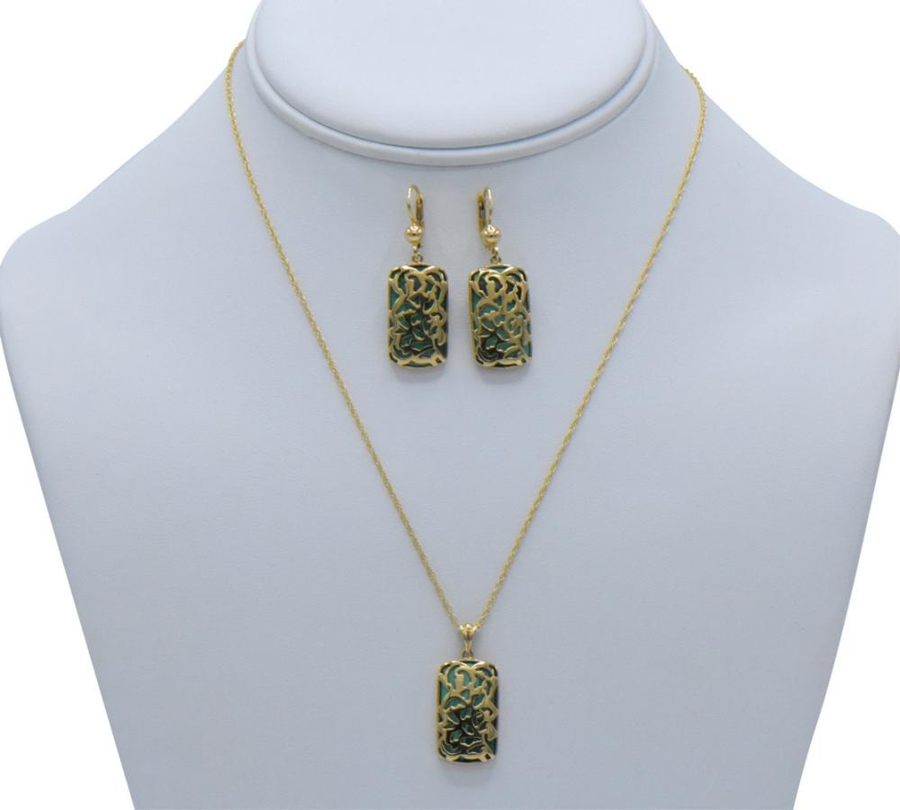 10K Yellow Gold & Malachite Jewelry Set