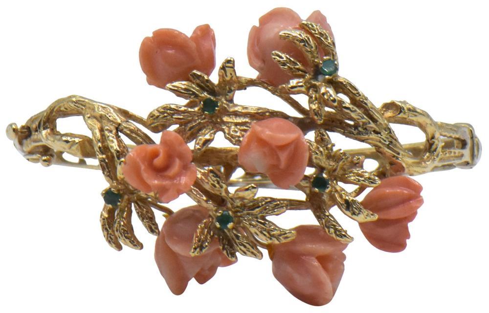 14K Yellow Gold. Emerald, & Coral Bangle