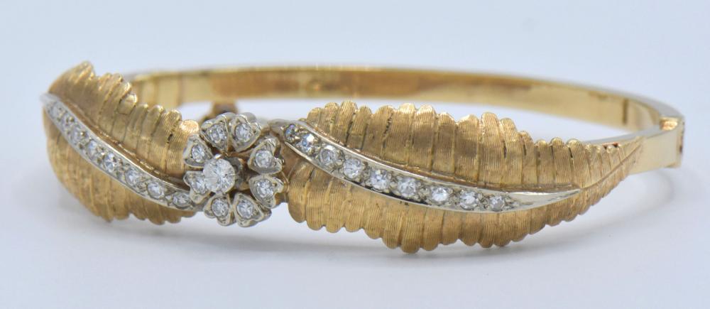 14K Yellow Gold, White Gold & Diamond Bangle