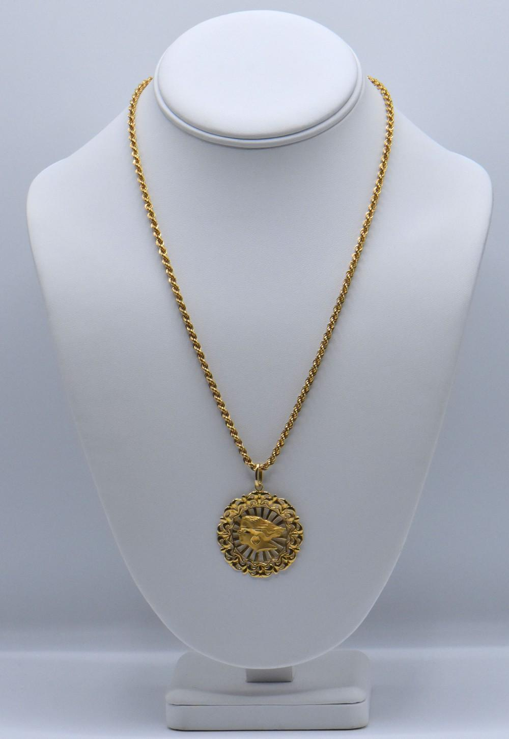 18K Gold Pendant & Chain and 14K Gold Pendant
