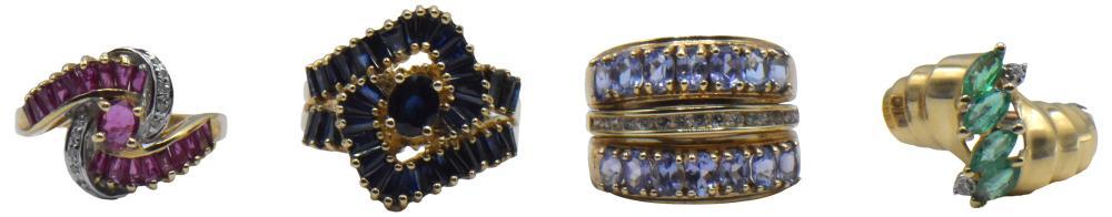 Four Yellow Gold & Gemstone Rings
