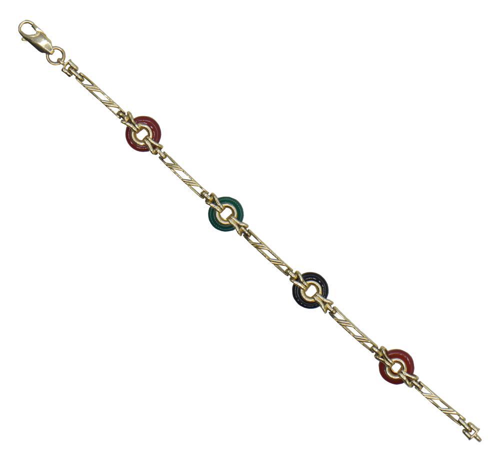 14K Yellow Gold, Carnelian, & Chalcedony Bracelet