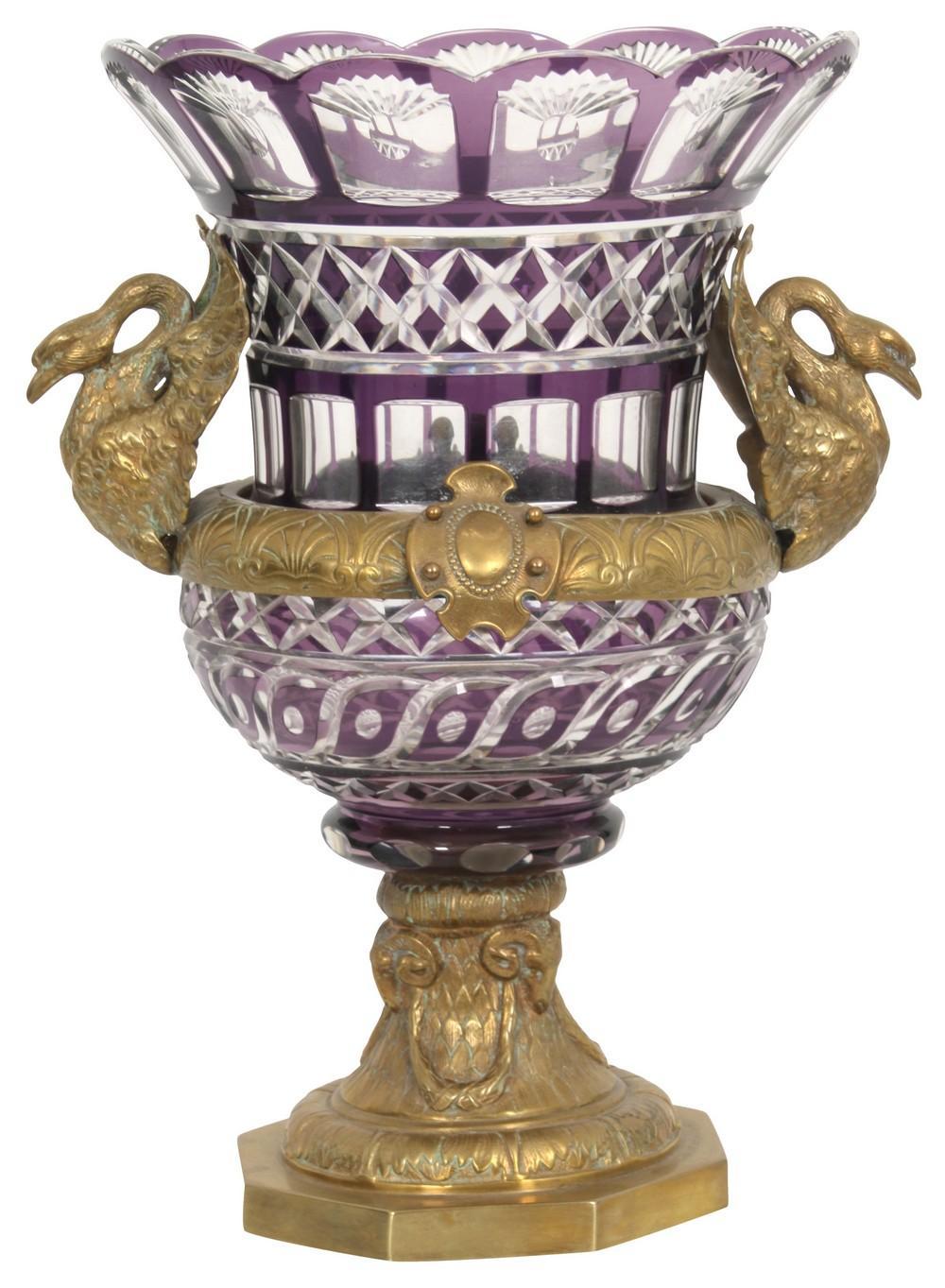Russian Gilt Bronze & Cut Glass Vase