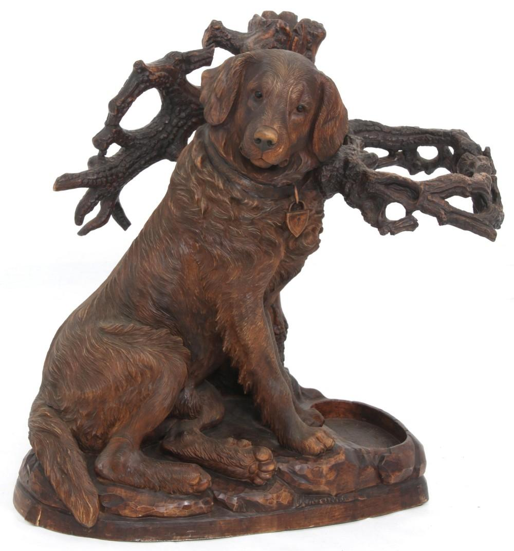 Black Forest Carved Dog Umbrella Stand