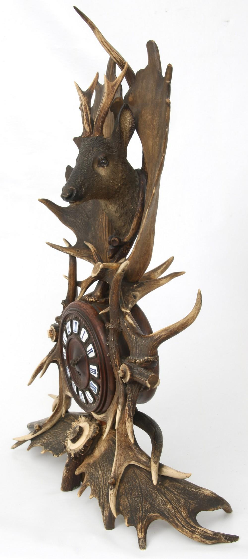 Black Forest Stag Head Mantel Clock