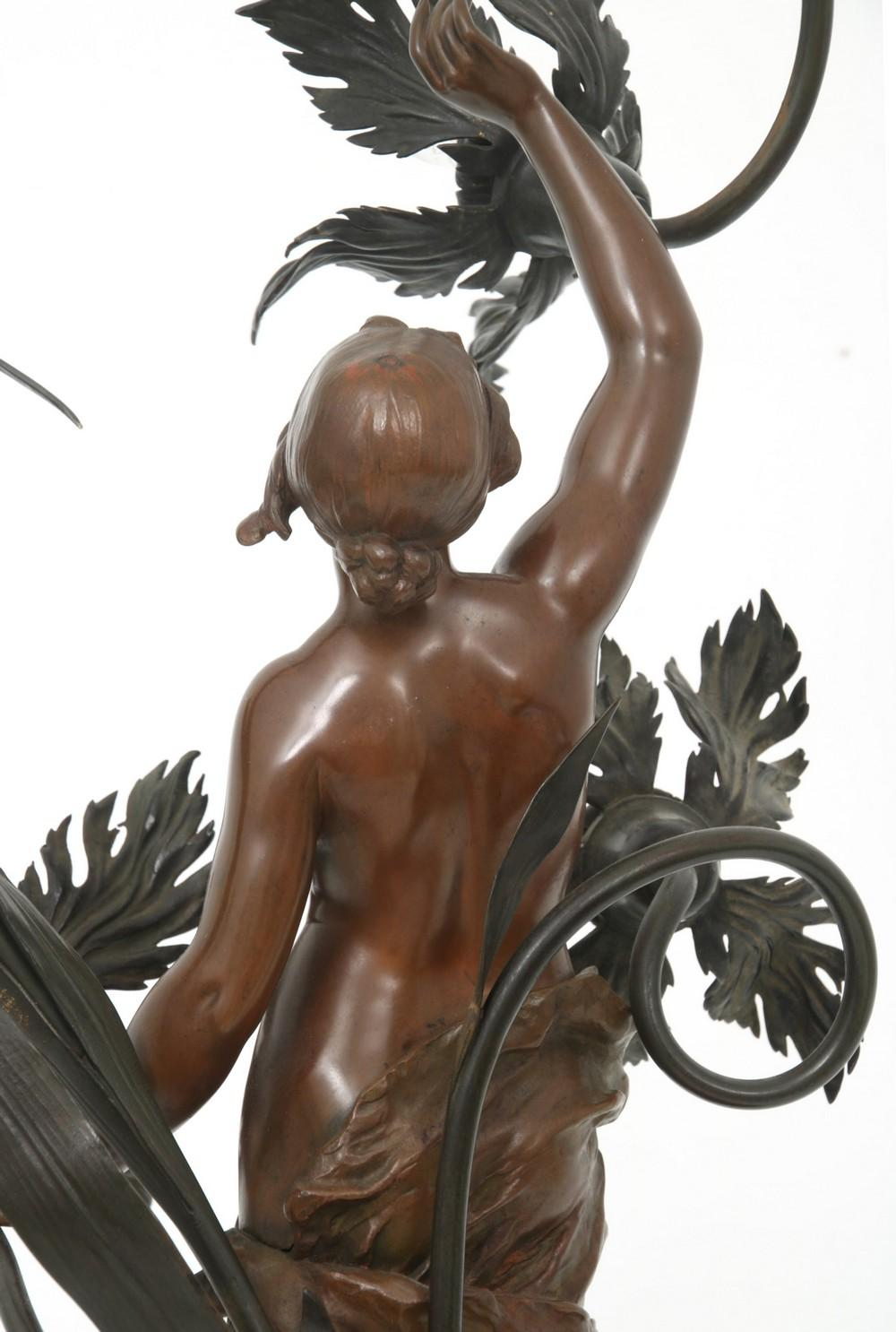 French Bronze Newel Post Lamp