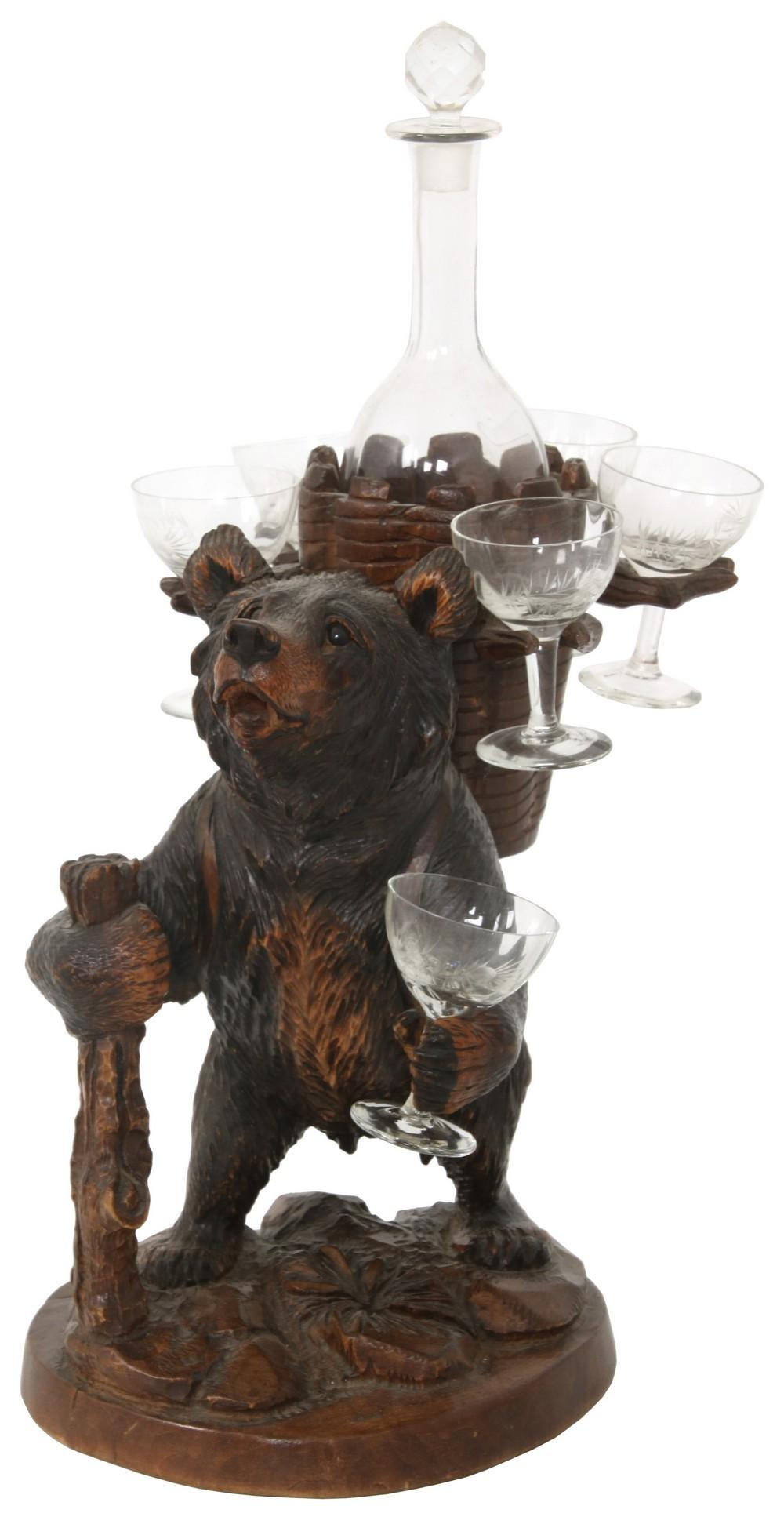 Black Forest Carved Bear Decanter Set