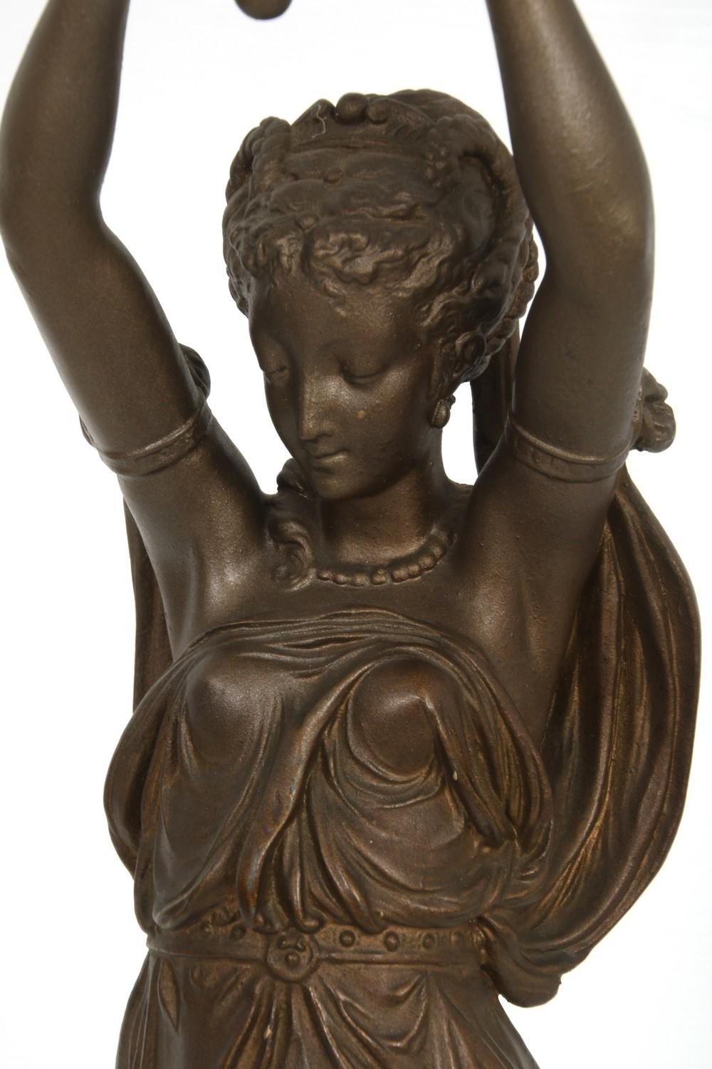 French Figural Bronze Newel Post Lamp