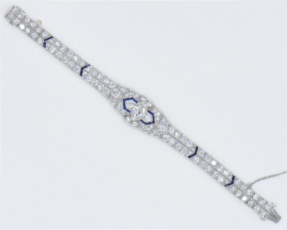 Platinum, Diamond & Sapphire Bracelet