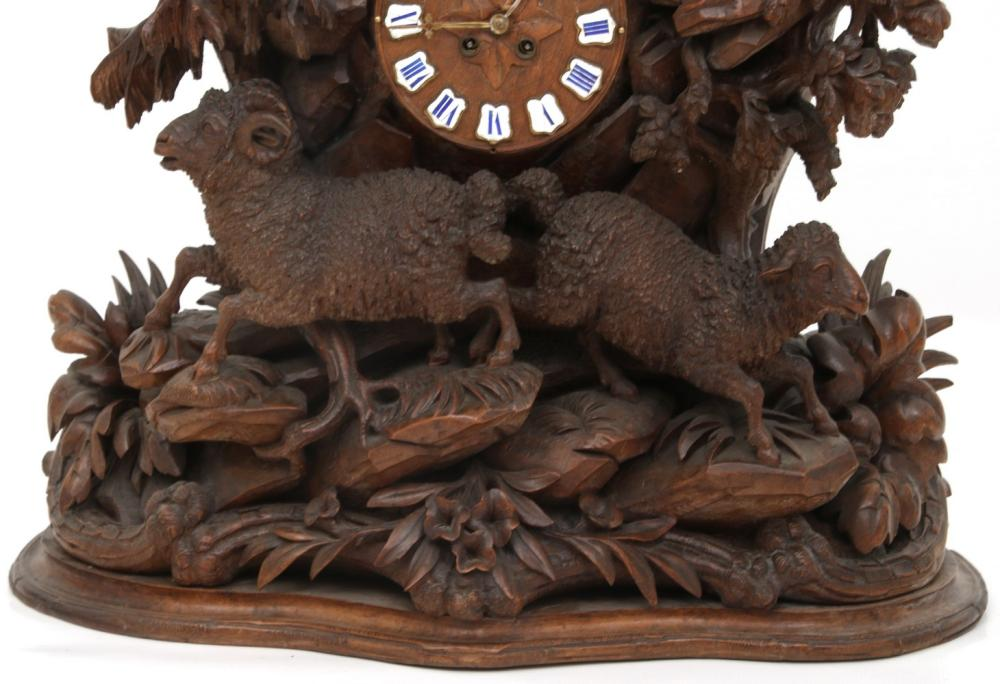 Black Forest Figural Carved Clock