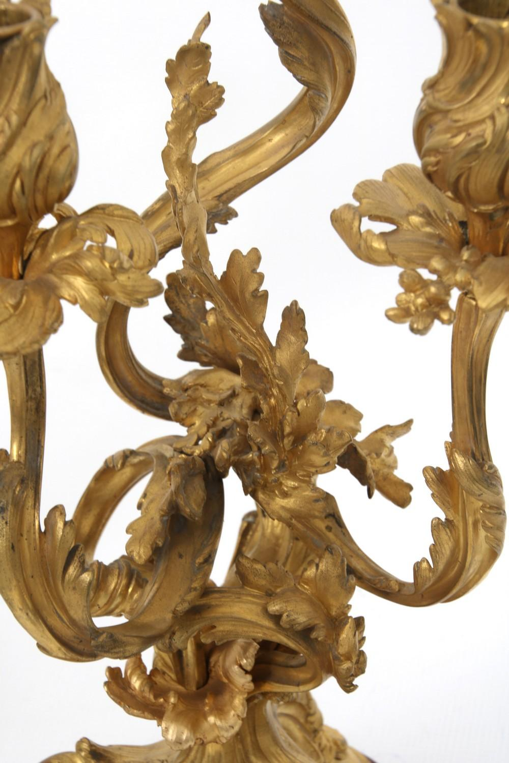 Pair of French Gilt Bronze Candelabra