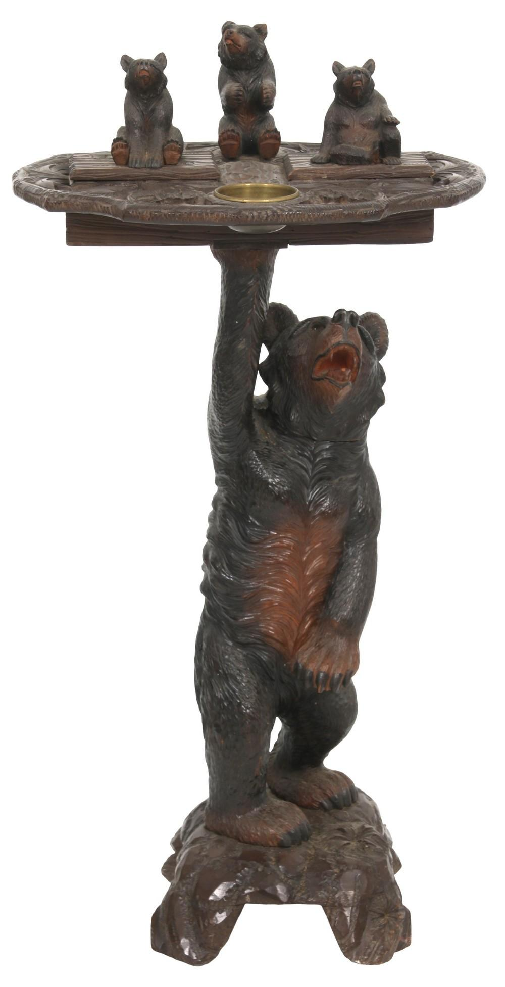Black Forest Figural Carved Smoking Stand