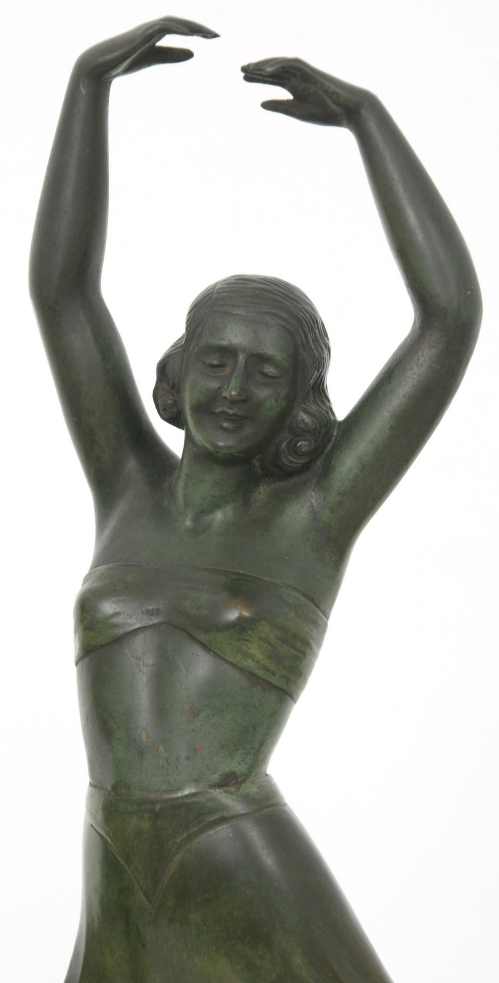 Art Deco Figural Bronze Lamp