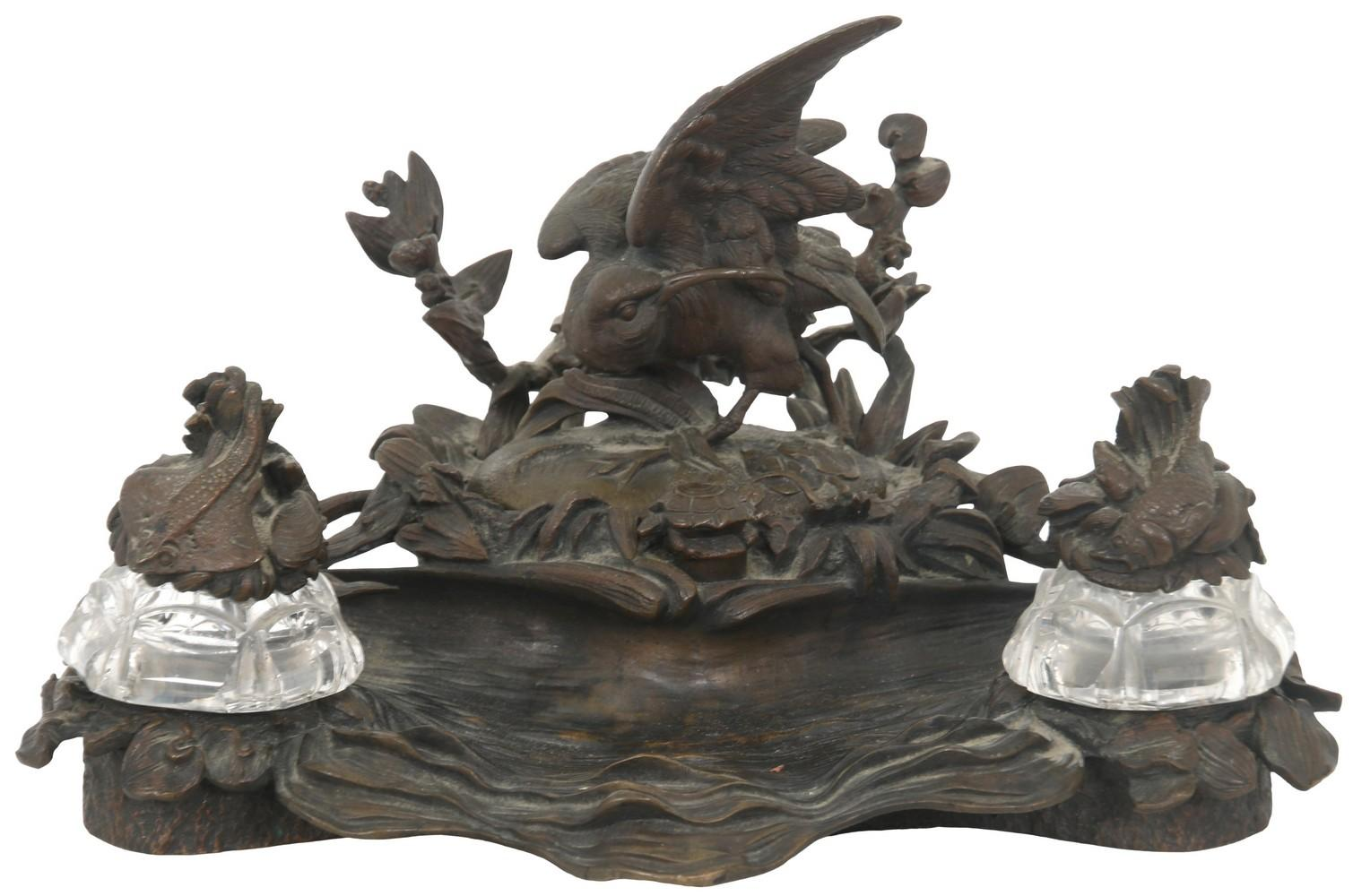 French Bronze Figural Inkstand