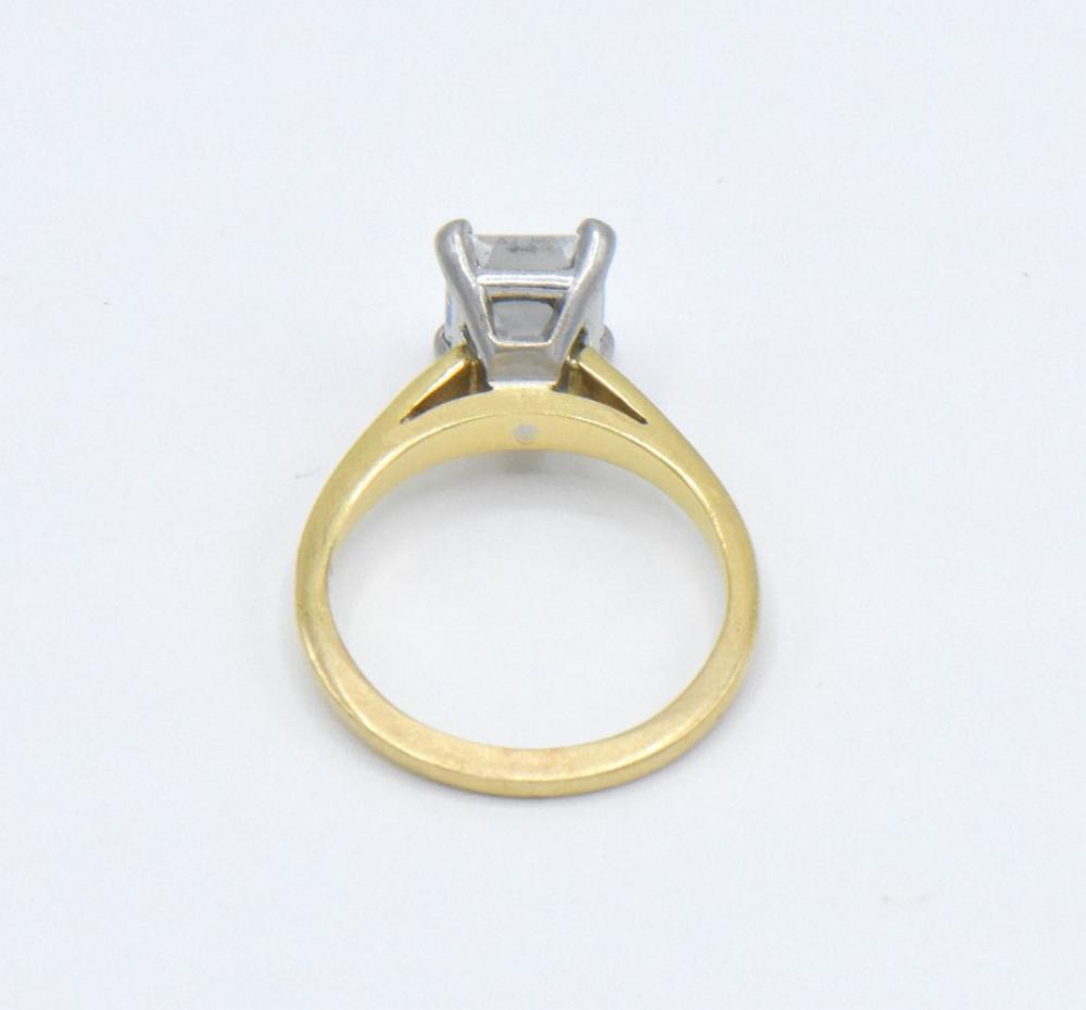 18K & Platinum 2.08 ct. Emerald Cut Diamond Ring