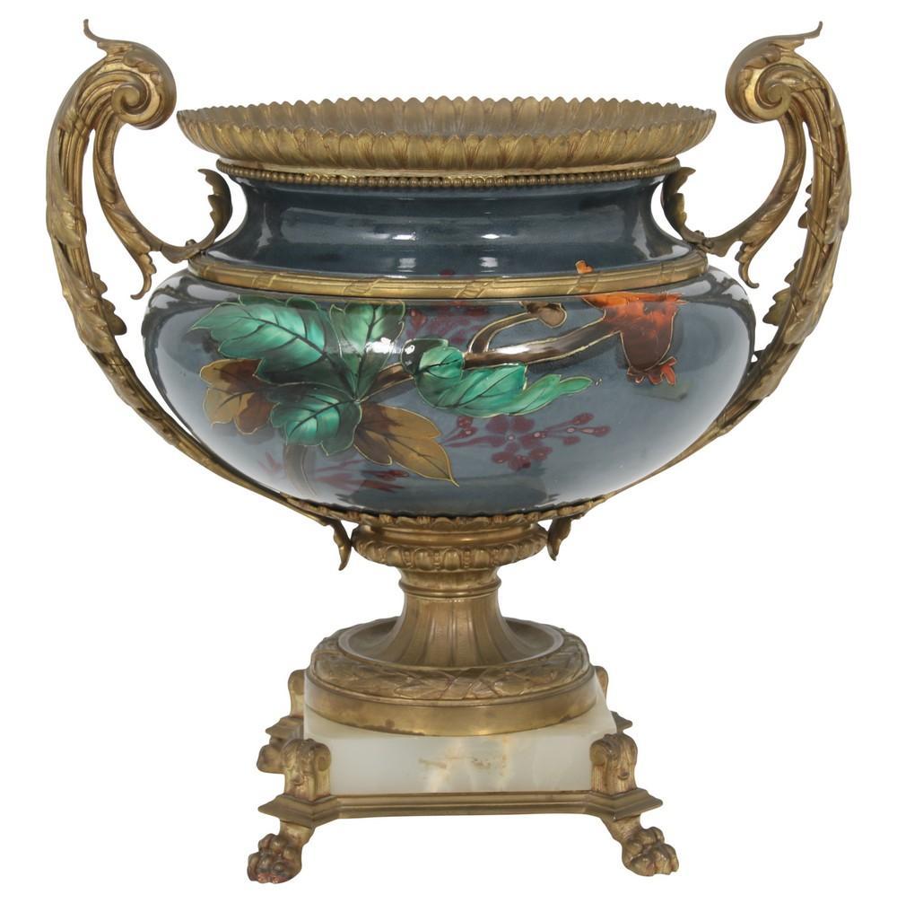 French Porcelain & Gilt Bronze Urn