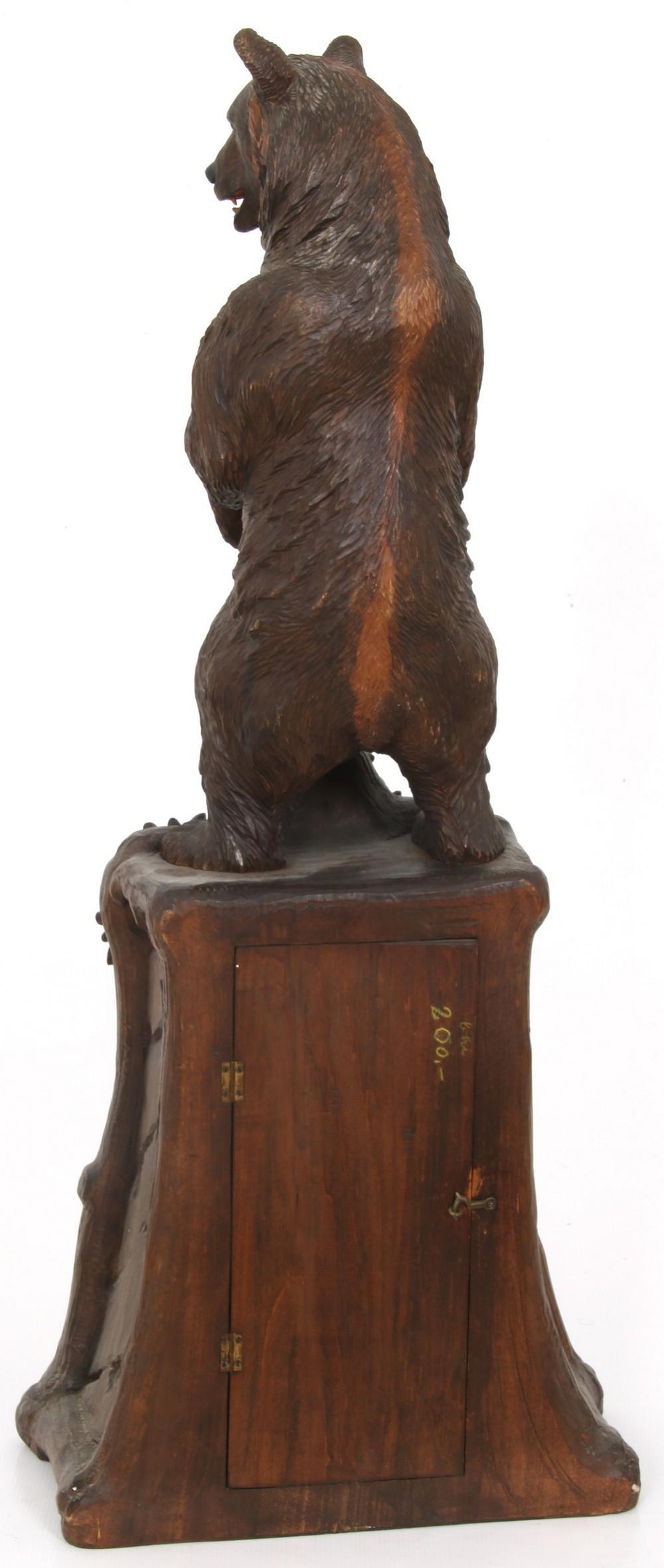 Black Forest Carved Bear Clock