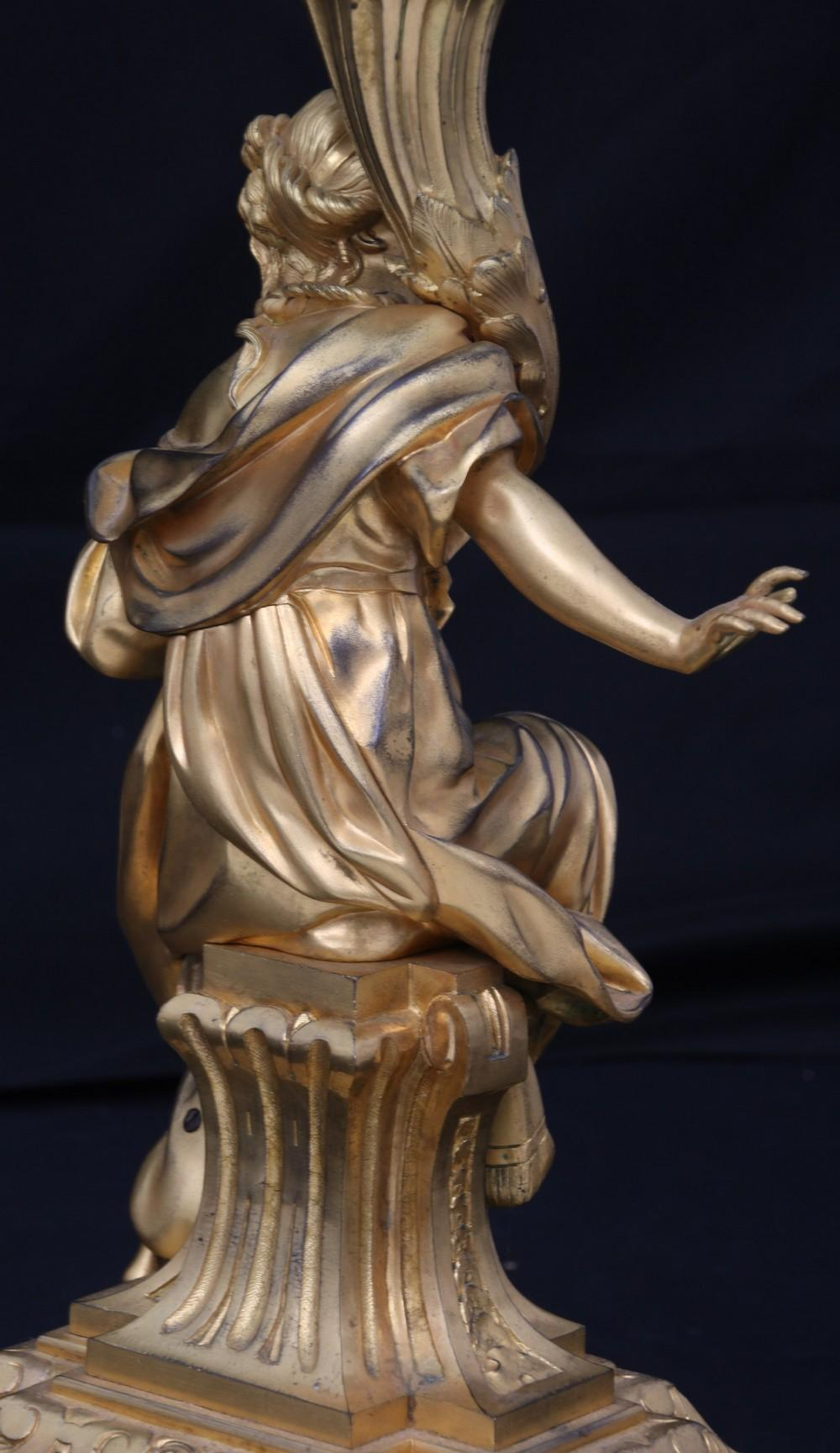 French Gilt Bronze & Onyx Figural Table