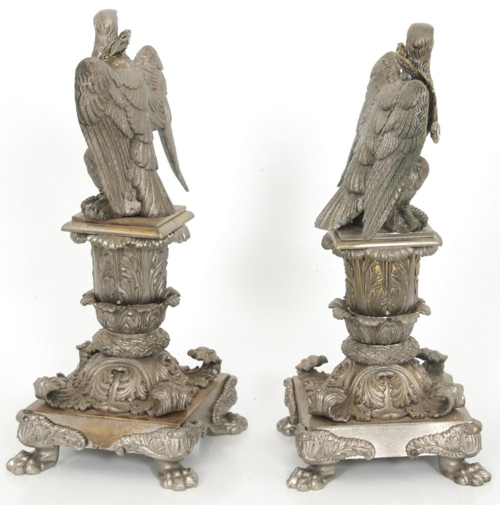 Pair of Bronze Eagle Chenets
