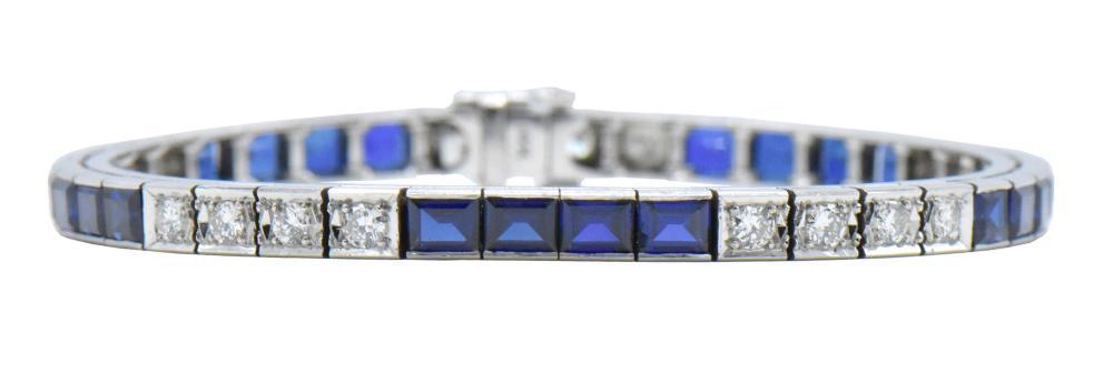 14K White Gold, Sapphire, & Diamond Bracelet