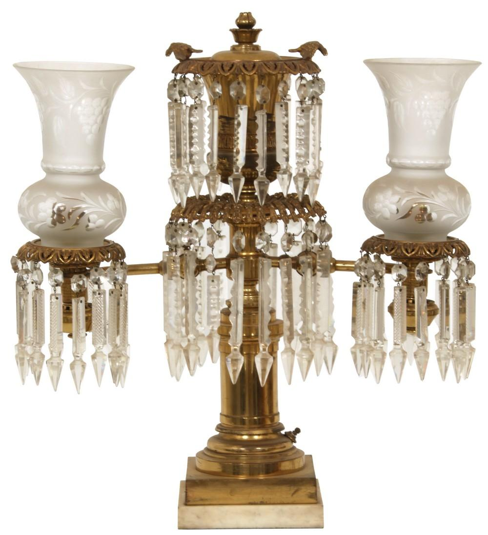 Brass Two-Arm Argand Lamp