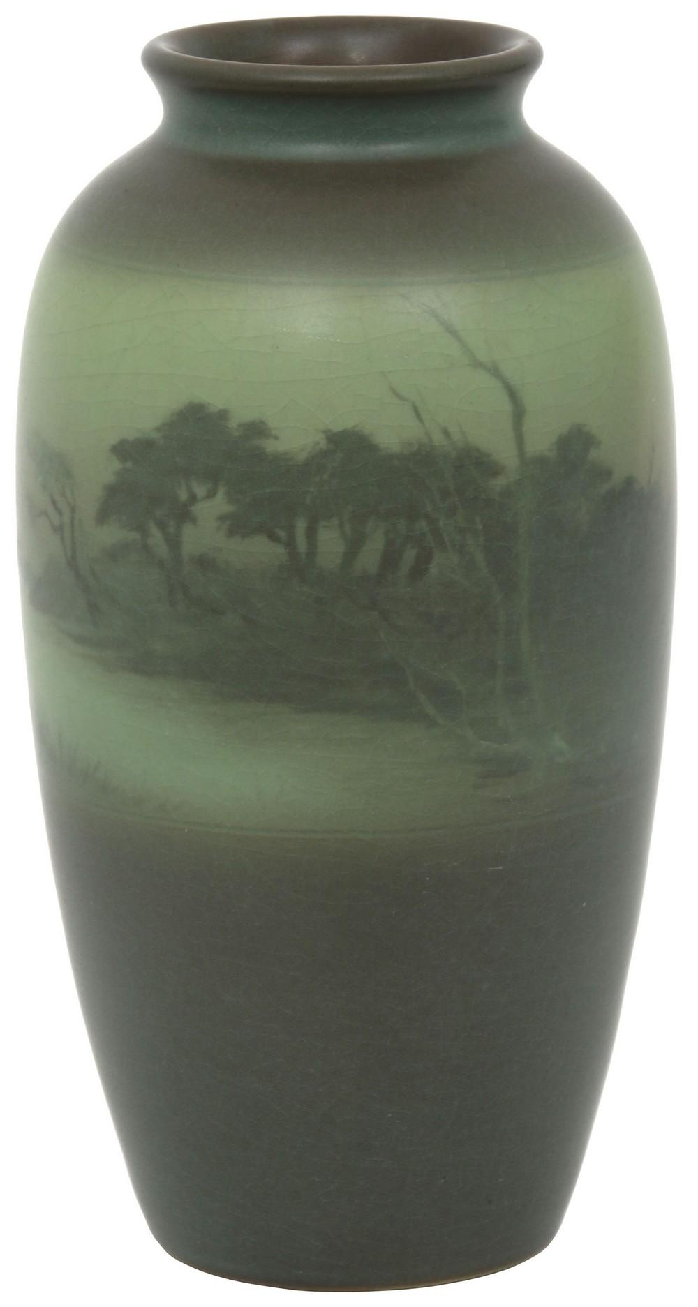 Rookwood Pottery Green Vellum Vase