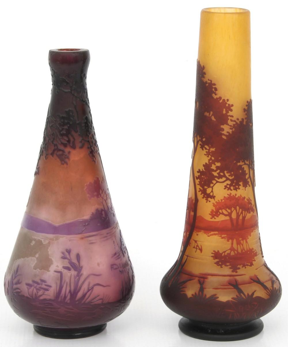 Two Scenic Cameo Glass Vases