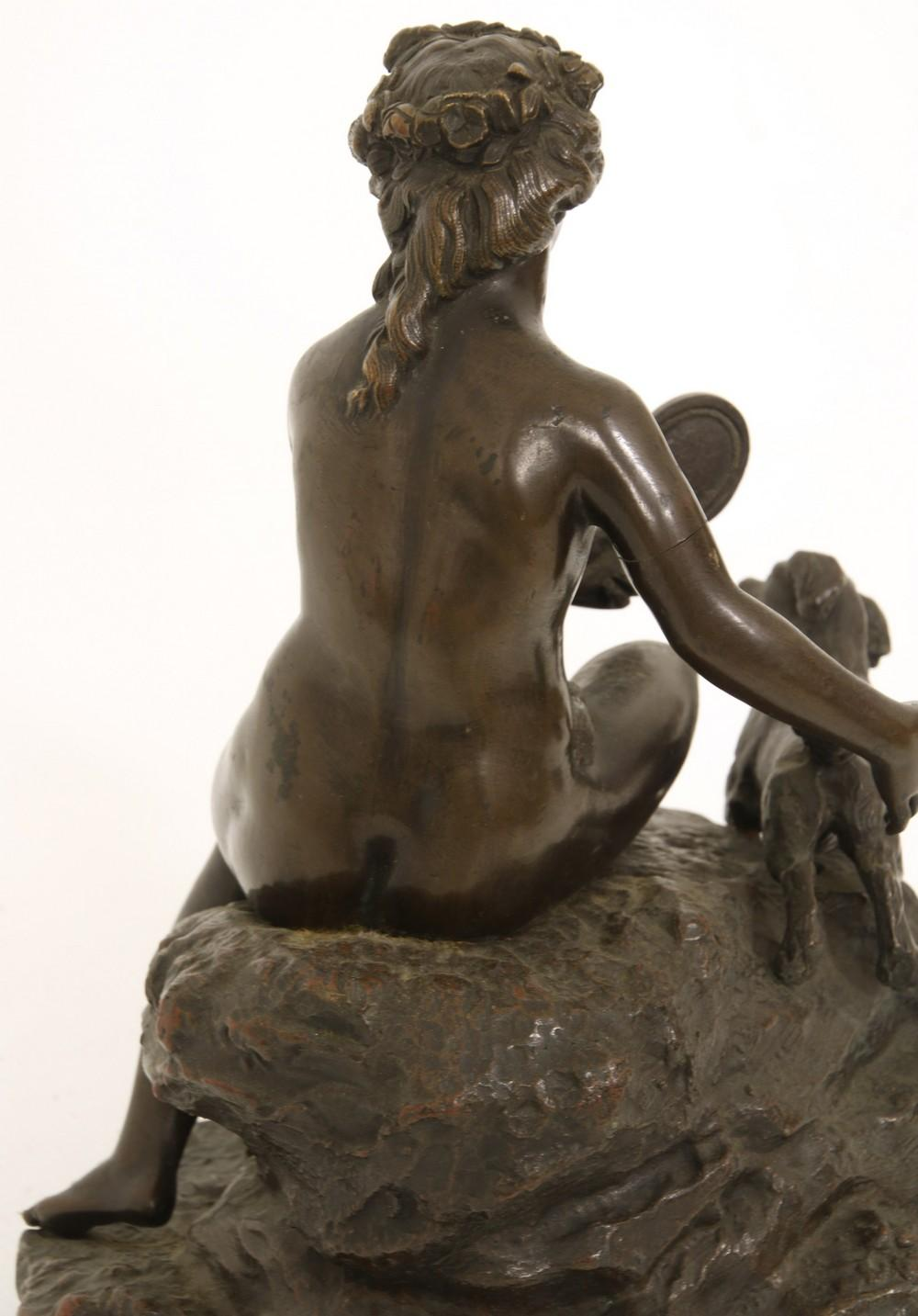 Bronze Sculpture of a Woman with Dog