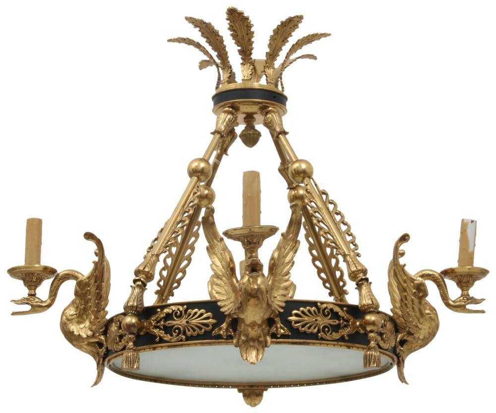 French Empire Gilt Bronze Chandelier