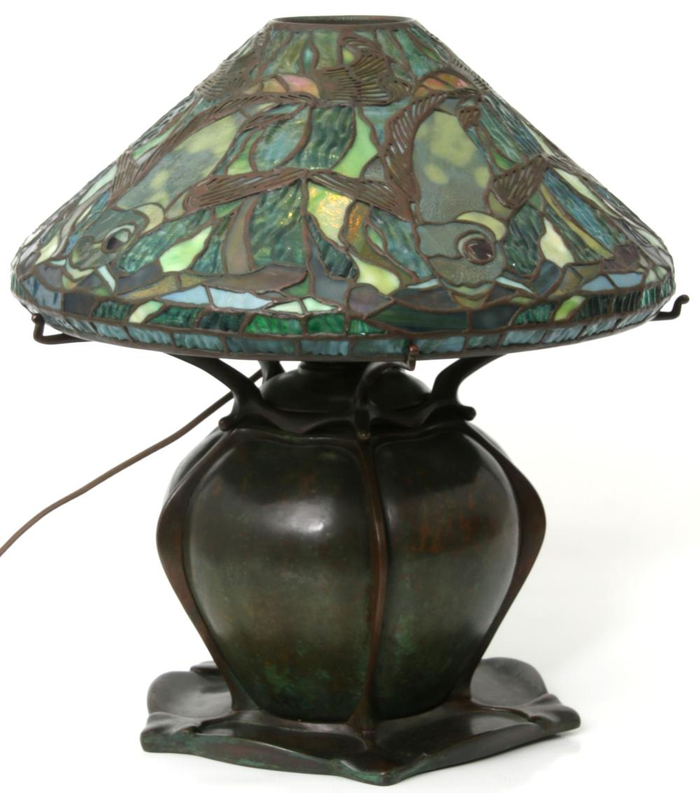 Tiffany Studios Leaded Glass Aquatic Fish Lamp