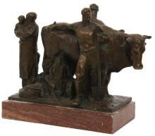 G. Nicolini Bronze Sculpture of Farmers
