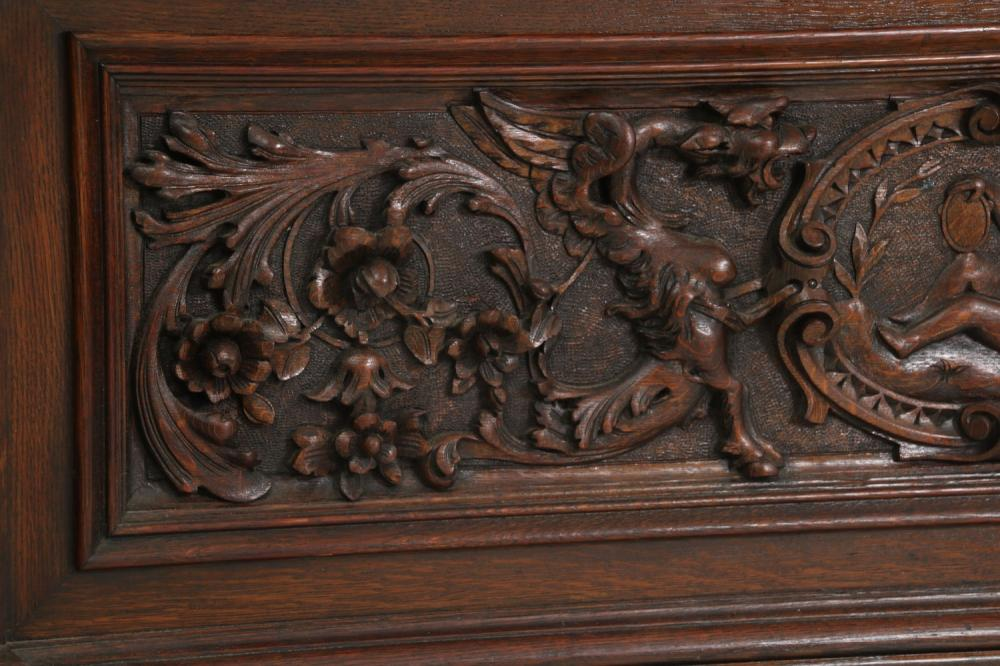R.J. Horner & Co. Oak Figural Hall Bench