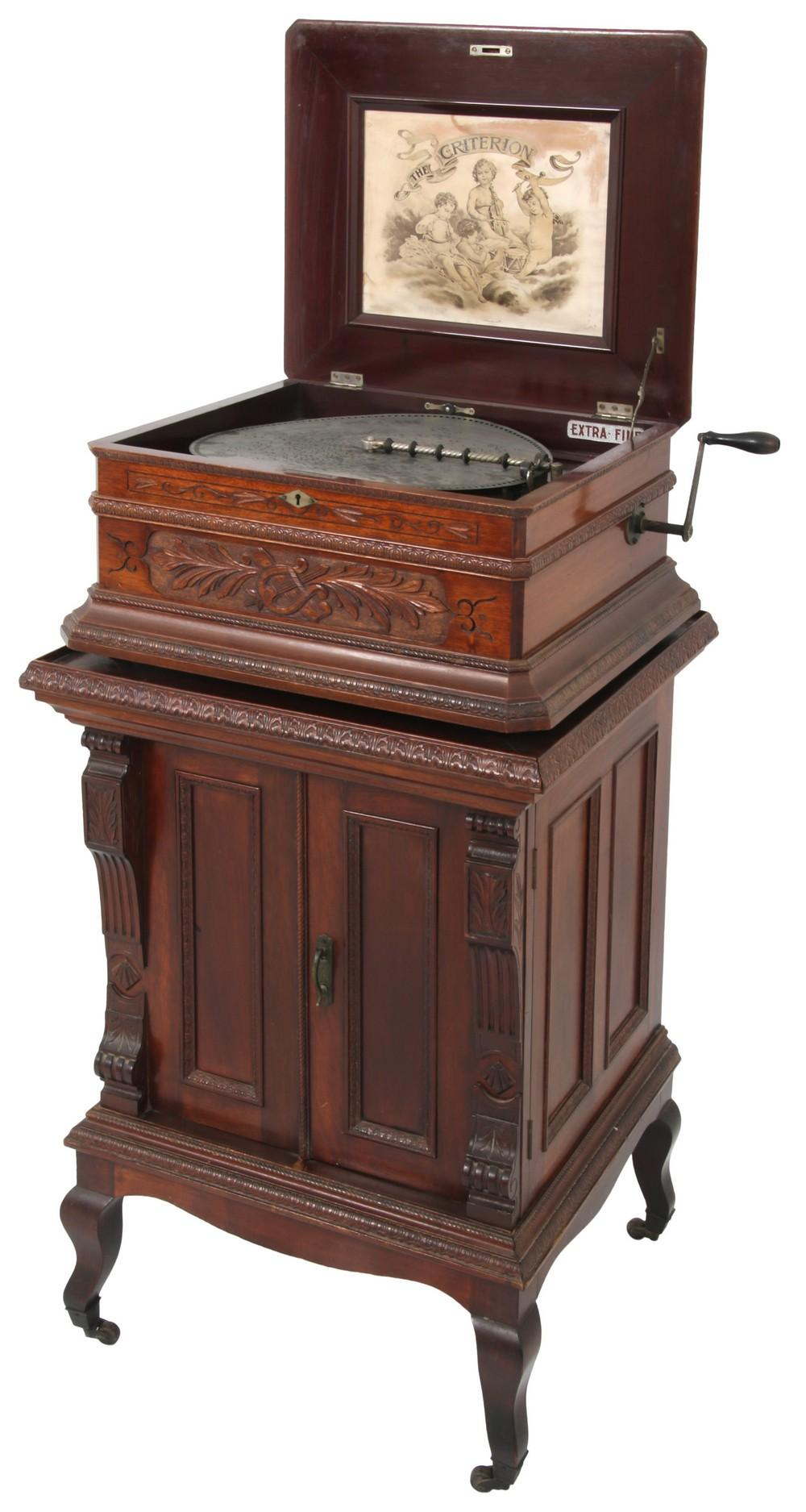 Criterion Mahogany Music Box with Stand