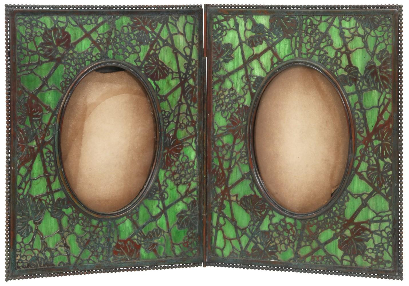 "Tiffany Studios ""Grapevine"" Double Picture Frame"
