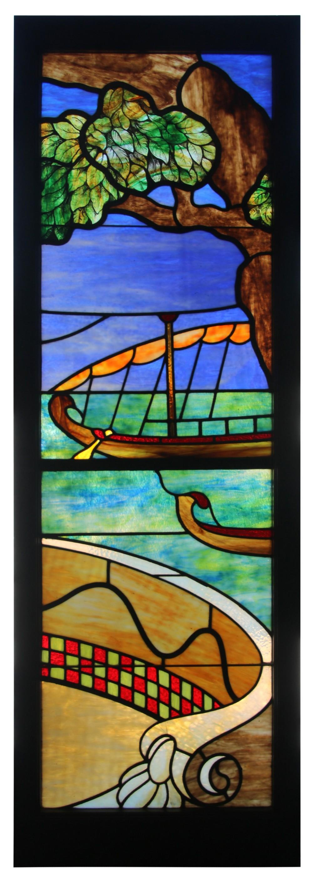 Three-Panel Leaded & Stained Glass Window